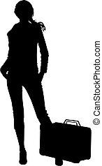 voyage, femme, silhouette