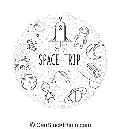 voyage, forms., espace, rempli, icônes, simple, cercle