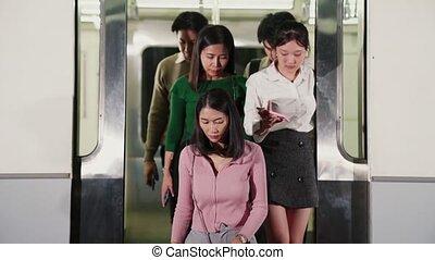 voyage, gens, occupé, public, foule, train métro, bondé