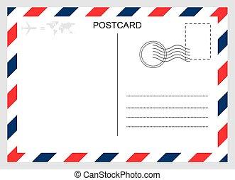 voyage, graphique, isolé, vide, carte, conception, arrière-plan., moderne, carte postale