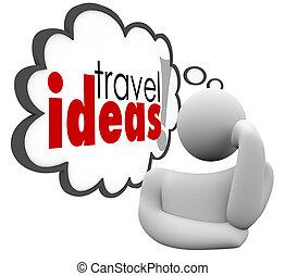 voyage, idées, vacances, pensée, penseur, brain-storming, plan, nuage