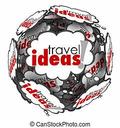voyage, idées, vacances, pensée, sphère, brain-storming, plan, nuage
