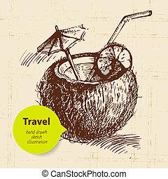 voyage, illustration, fond, coco, vendange, cocktail., main, dessiné