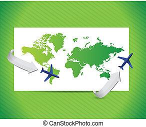 voyage international, conception, concept., illustration
