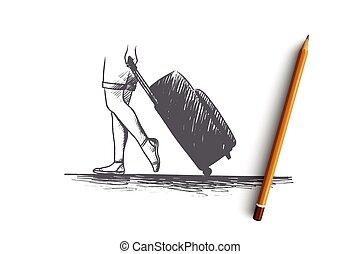 voyage, main, concept., vector., isolé, dessiné, temps