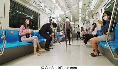 voyage, masque, métro, public, train, figure, gens, porter, bondé, foule