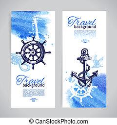 voyage, mer, banners., ensemble, nautique, aquarelle, croquis, illustrations, main, dessiné, design.