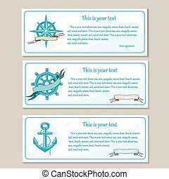 voyage, mer, banners., ensemble, nautique, design.