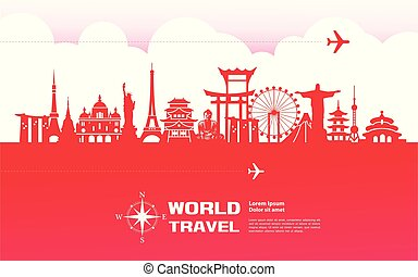 voyage mondial, autour de, vector.