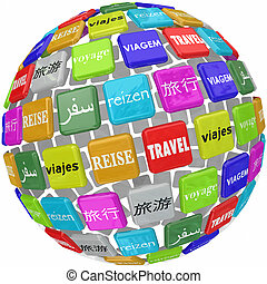 voyage mondial, mot, traduction, culture, langues, différent, global