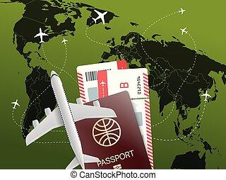 voyage mondial, vecteur, concept., illustration