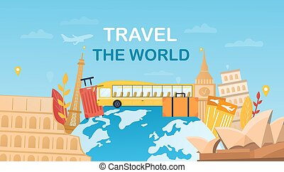 voyage, mondiale, concept