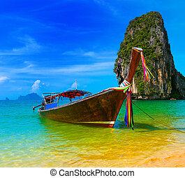 voyage, nature, traditionnel, recours plage, bateau, thaïlande, paradis, beau, bois, île, ciel, été, exotique, bleu, paysage, paysage, eau