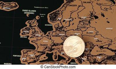 voyage, noir, carte, europe, dollar, égratignure, monnaie, eu
