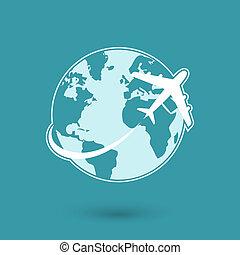 voyage, réseau global, avion, icône