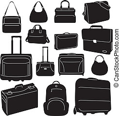 voyage, sacs, collection, valises