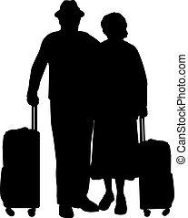 voyage, silhouettes, couple, grand-père, suitcase.