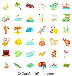 voyage, style, dessin animé, temps, ensemble, icônes