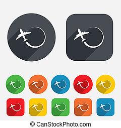 voyage, symbole., signe, icon., avion, voyage