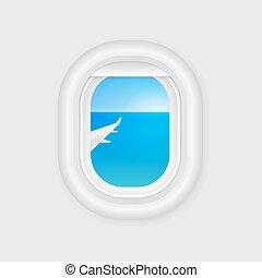 voyage, template., avion, avion, conception, fenêtre., vector., illuminator., porthole., avion, vue