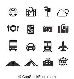voyage, &, transport, icônes