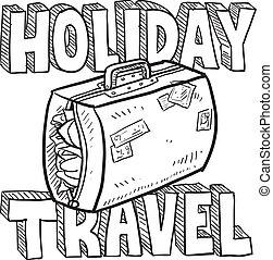voyage, vacances, croquis, vecteur