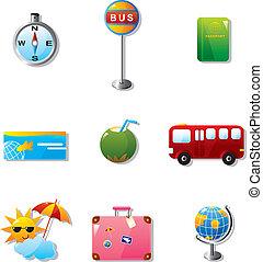 voyage, vacances, illustration, icônes