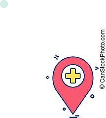 voyage, vecteur, emplacement, marqueur, icône, hôpital, desige