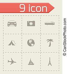 voyage, vecteur, ensemble, icônes