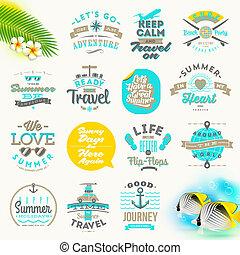 voyage, vecteur, ensemble, vacances, été, type, conception