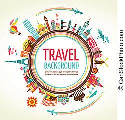 voyage, vecteur, tourisme, fond