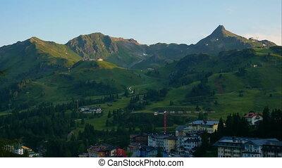 voyage, village, paysage montagne, recours