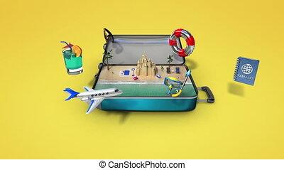 voyager, vacances, sac, ouvert