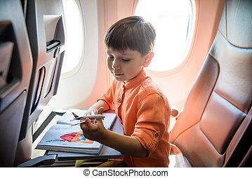 voyager, voyage, avion, fenêtre, charmer, garçon, avion., séance, pendant, flight., gosses, gosse, peu, air, joyeux