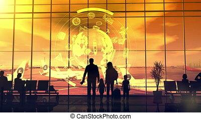 voyageurs, silhouettes, aéroport, sunset.