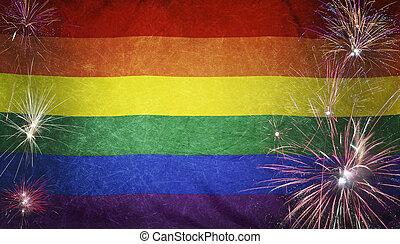 vrai, arc-en-ciel, concept, grunge, tissu, drapeau, feud'artifice