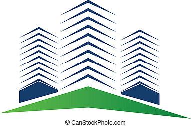 vrai, bâtiments, logo, propriété