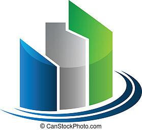 vrai, bâtiments, propriété, moderne, vecteur, conception, logo, carte, icône