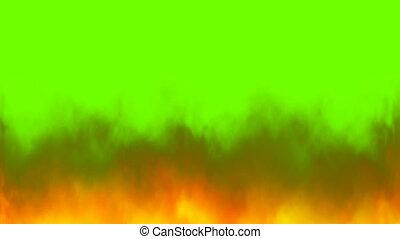 vrai, clã©, flammes, chroma, vert, brûler, fond, écran