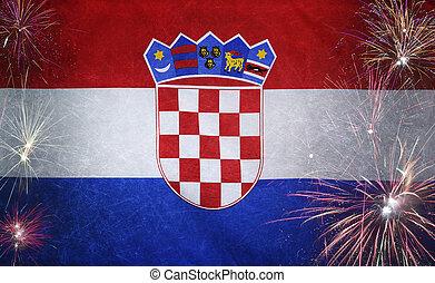 vrai, concept, grunge, tissu, drapeau, feud'artifice, croatie