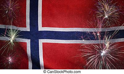 vrai, concept, grunge, tissu, drapeau, feud'artifice, norvège