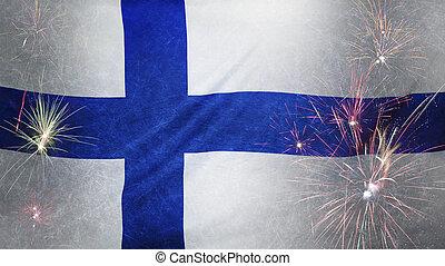 vrai, concept, grunge, tissu, drapeau finlande, feud'artifice