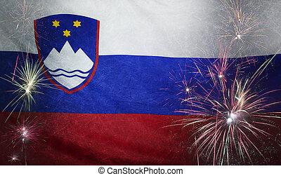 vrai, concept, grunge, tissu, drapeau slovénie, feud'artifice