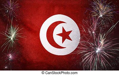 vrai, concept, grunge, tissu, drapeau tunisie, feud'artifice