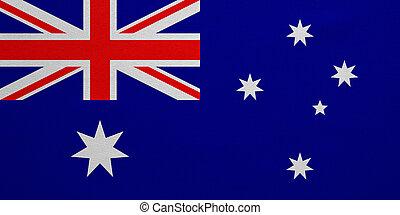 vrai, détaillé, australie, tissu, texture, drapeau