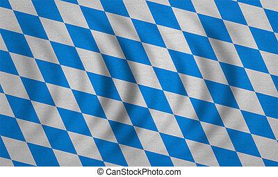 vrai, détaillé, bavière, tissu, ondulé, texture, drapeau