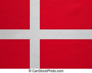 vrai, détaillé, tissu, danemark, texture, drapeau