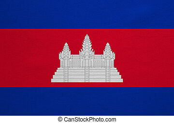 vrai, détaillé, tissu, texture, drapeau, cambodge