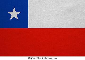 vrai, détaillé, tissu, texture, drapeau, chili