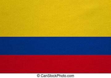 vrai, détaillé, tissu, texture, drapeau, colombie